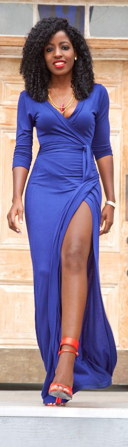 Navy Wrap Maxi Dress / Fashion By Style Pantry