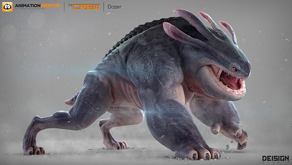 "Dozer, a new creature created for Animation Mentor as part of ""The Crew"" characters. - Creature design and art direction by Dei Gaztelumendi. - Modeling by Ander Lizarralde. - Texturing and shading by Michel Alencar."