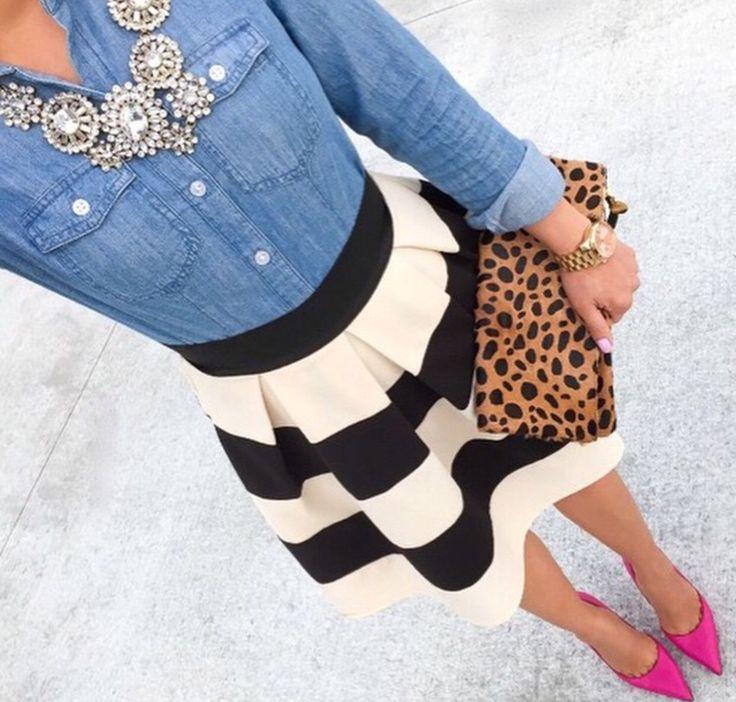 Chambray Stripes Leopard Pink