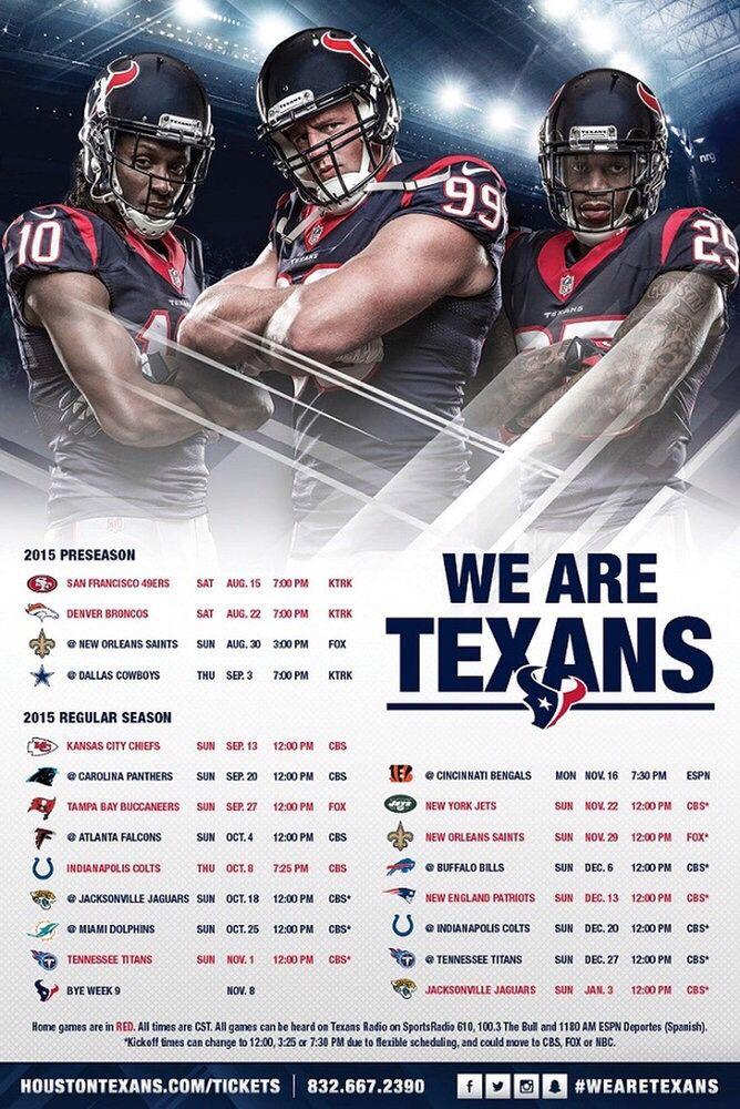 2015 Houston Texans Schedule NFL Houston Texans