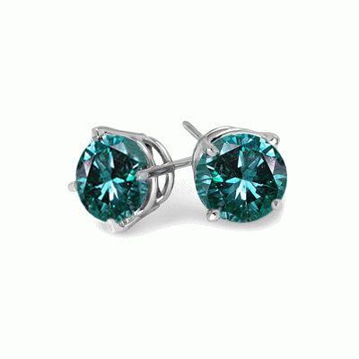 #6014 Blue Diamond Stud Earrings in Sterling Silver 0.50 Ct