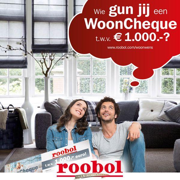 Roobol bestaat 70 jaar en trakteert!  Wie gun jij een nieuwe vloer, raambekleding of een vloerkleed? Plaats een reactie bij dit bericht, vermeld wie je de wooncheque gunt en motiveer je keuze!  Liken en delen is niet verplicht, maar vinden we wel heel leuk! Kijk op www.roobol.com/woonwens voor de actievoorwaarden.  #roobolwoonwens #roobol #actie #wooncheque #jubileum
