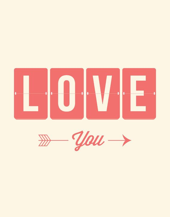 Typography Print Poster Art Love You Colorful door TheMotivatedType