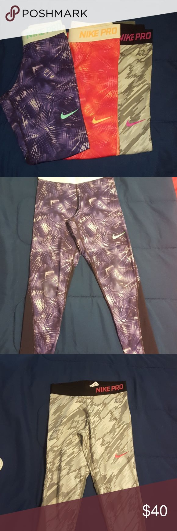 3 pair of girls Nike Pro pants 3 pair of girls Nike Pro Pants in Excellent used condition! These are so comfy great for cheer or gymnastics Nike pro Bottoms Leggings