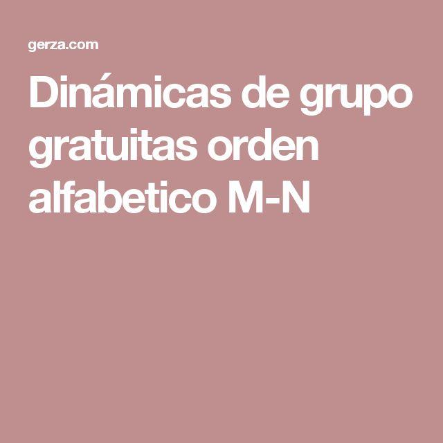 Dinámicas de grupo gratuitas orden alfabetico M-N
