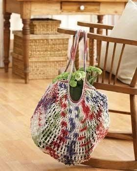 Rainbow Market Bag | AllFreeKnitting.com