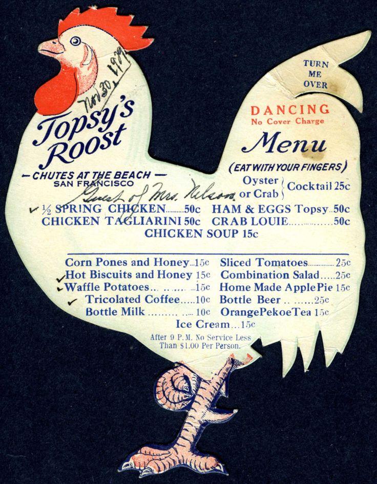 "Nov 1929 San Francisco Chutes Beach Topsy's Roost Original ""Chicken Shack Menu"" | eBay"