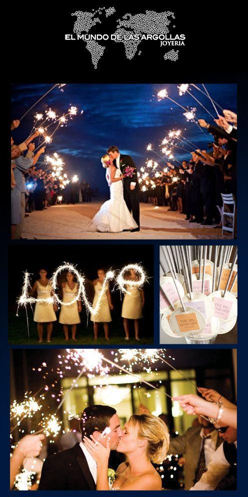 Los minutos más emocionantes en una boda es cuando los invitados reciben a la nueva pareja, haz ese momento divertido y elegante con luces de bengala #IdeasParaTuBoda   #LucesDeBengala
