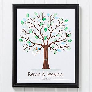 """This is perfect! It's a """"Tree of Love"""" Fingerprint Guest Book Wall Art that you can have personalized with the couple's name and wedding date ... then guests can leave fingerprints to make the leaves ... this is such a cute guest book idea! #wedding #guestbookidea"""
