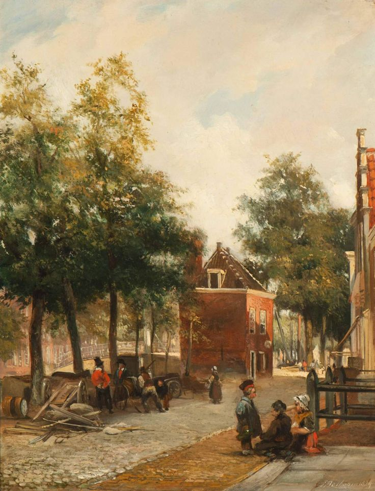 Zonnige grachtscene in Den Haag (1834) - Johannes Bosboom (1817-1891)