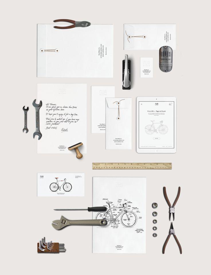 Nua Bikes minimal hand crafted branding stationery