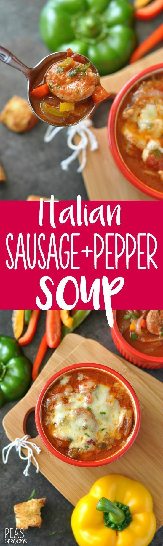Italian Sausage, Pepper, and Onion Soup :: a healthy spin on a comfort food classic. I'm obsessed!
