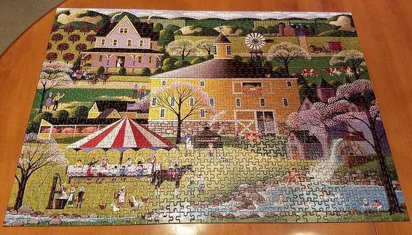 THE ROUND BARN HERONIM Wysocki Puzzle 1000 pc Complete 2003 HOMETOWN COLLECTION #RoseArt