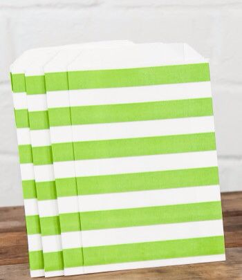 Green stripe lolly bags www.qualitytimepartysupplies.com.au