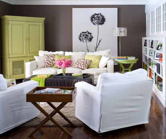 lime green: Idea, Living Rooms, Blank Wall, Artworks, Color Schemes, Wall Color, Canvas, Families Rooms, Dark Wall