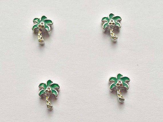 4 Enamel Palm Tree Floating Charms  Glass Locket Charms
