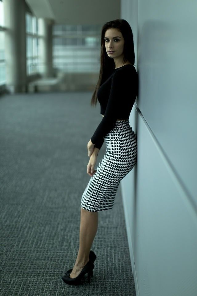 Long Houndstooth Skirt | Long Tight Houndstooth Pencil Skirt Black ...
