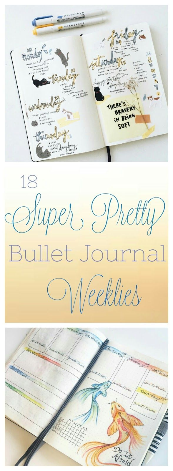 18 Super Pretty Bullet Journal Weeklies. Beautiful Inspiration for your weekly layouts for journals, notebooks, or planners.