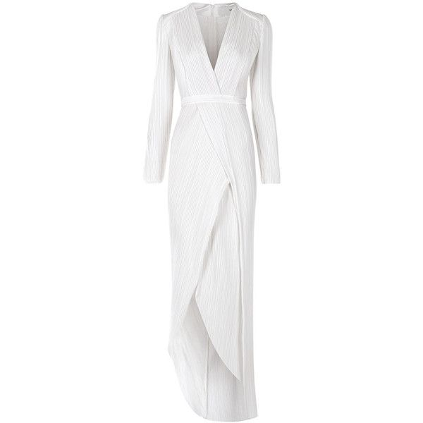 Galvan White Pleated V-Neck Gown ($2,040) ❤ liked on Polyvore featuring dresses, gowns, evening dresses, pleated maxi skirt, white cocktail dresses, white long sleeve dress and evening gowns