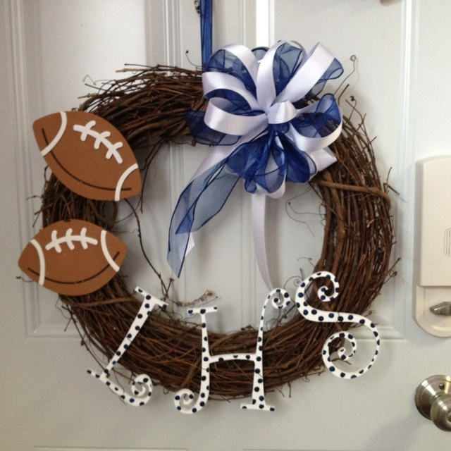 My Lake High School Football Fall wreath....waiting to be hung on the front door