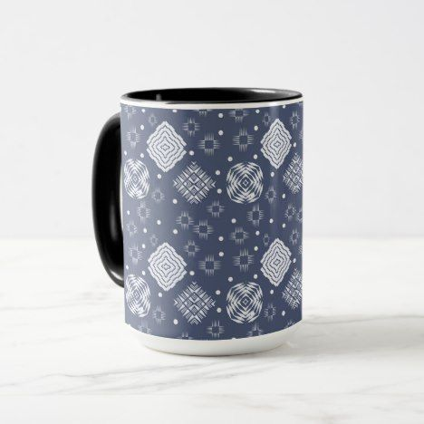 ethnic boho style blue pattern. mug #coffee #mug #mugs #muglove #coffeetime #coffeemug #gifts #style #tea