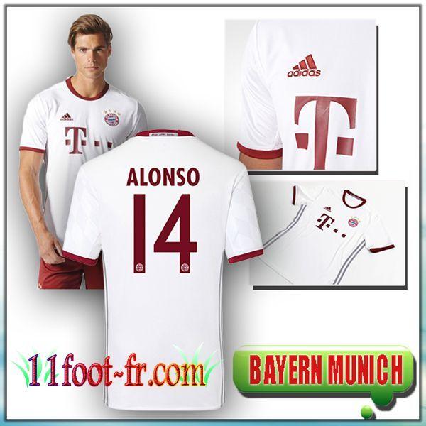 Maillot de Foot FC Bayern Munich ALONSO 14 Third Blanc 16-17