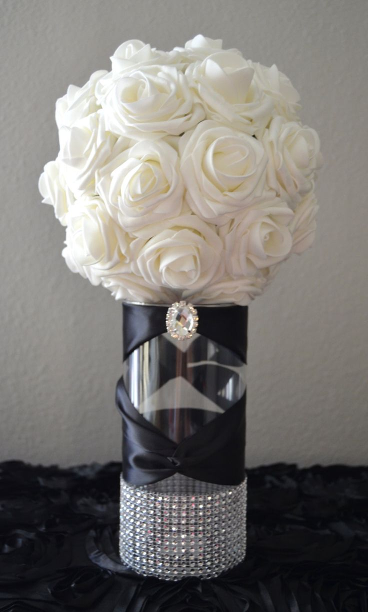 Rhinestone Vase with large bling gem. Switchback Satin Ribbon WEDDING CENTERPIECE Wedding Decor Choose Ribbon Color Choose Your Vase Size by KimeeKouture on Etsy https://www.etsy.com/listing/212456474/rhinestone-vase-with-large-bling-gem