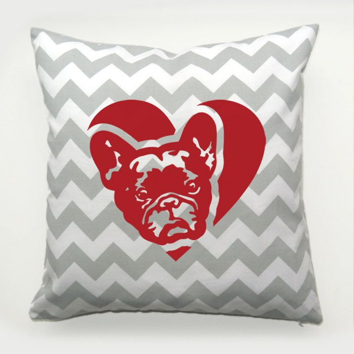 Decorative Pillow French Bulldog Dog Heart by PSIAKREW on Etsy