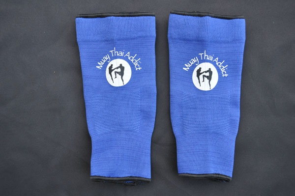 Muay Thai Addict Blue Ankle Supports  http://www.muaythaiaddict.com/equipment/muay-thai-addict-ankle-supports-blue/