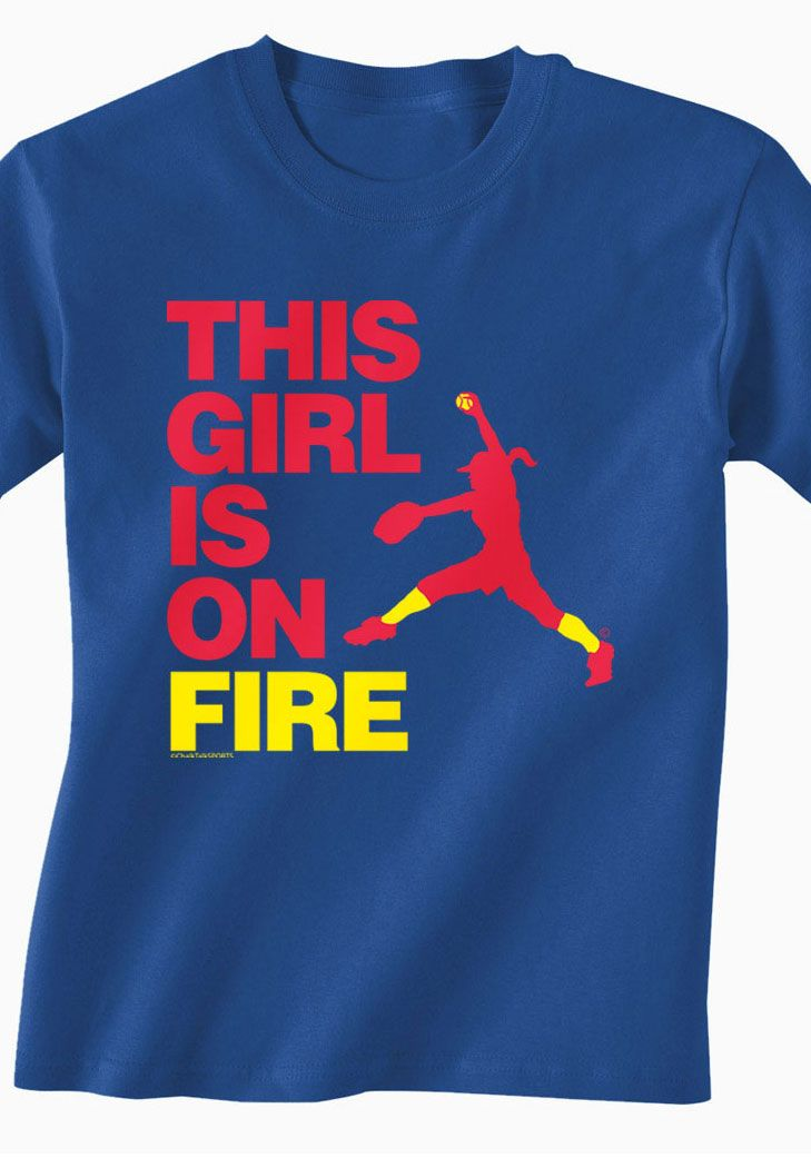 This Girl Is On Fire Softball tee! Fast Pitch Softball pitcher silhouette only from ChalkTalkSports.com