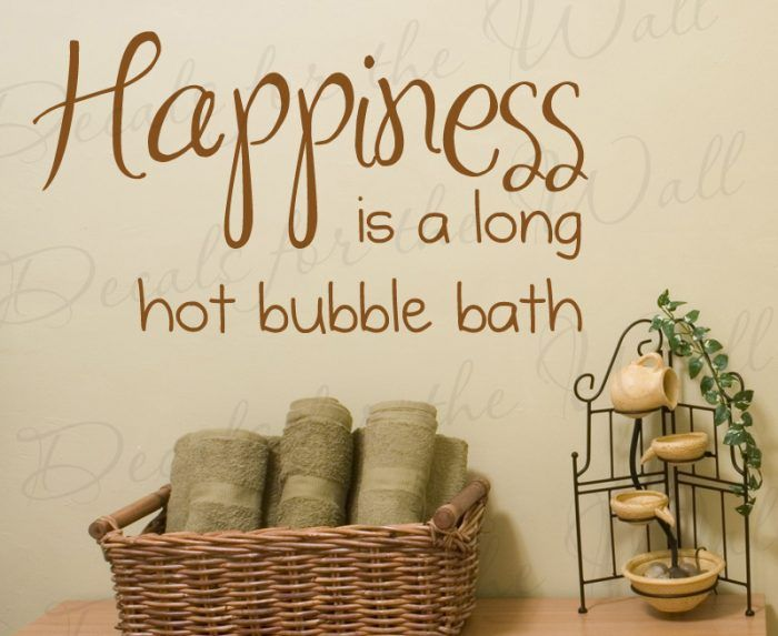 Happiness Is A Long Hot Bubble Bath   Bathroom Wall Decal, Wall Quote,  Creative