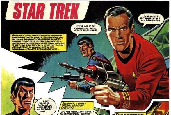 Gorgeous work for an episode of the British Star Trek comic by Mike Noble... but why is Kirk in an infamous red shirt? Star Trek © CBS