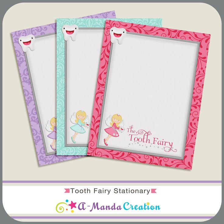 It is a picture of Delicate Tooth Fairy Stationary