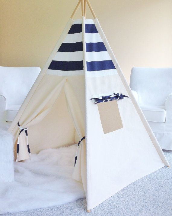 NAVY AND WHITE Stripe and Natural Canvas, Play Tent, Teepee, Play House, Indoor, Kids Teepee, Teepee Tent,