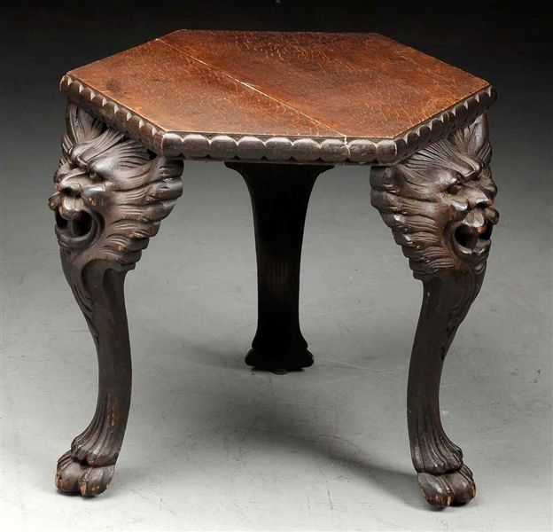 Lammert Furniture Co. Hexagonal Table with Carved Lion Legs.