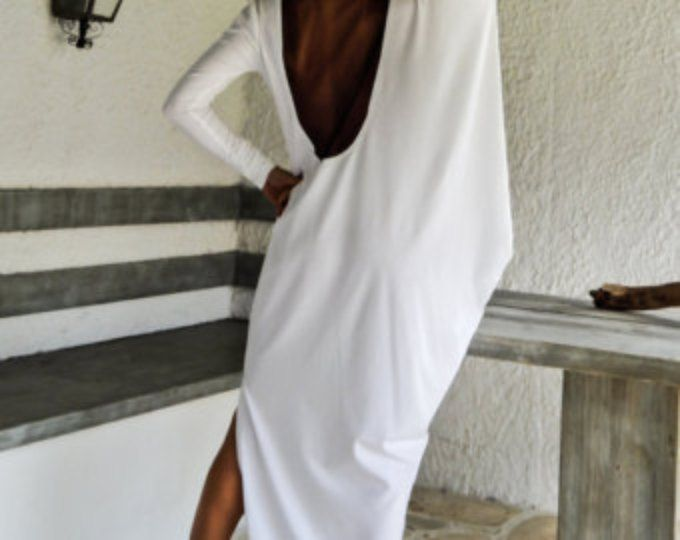 White Maxi Dress Kaftan with Black See-Through Detail / Asymmetric Open Back Dress / Oversize Loose Dress / #35068