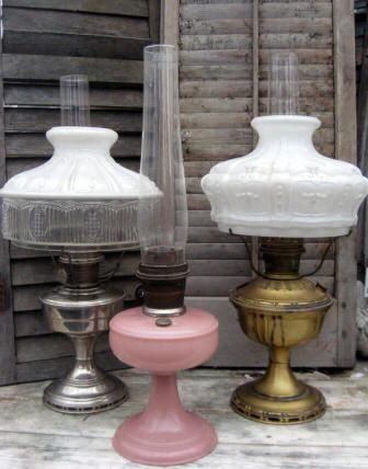 Aladdin lamps original glass shades early 1900s