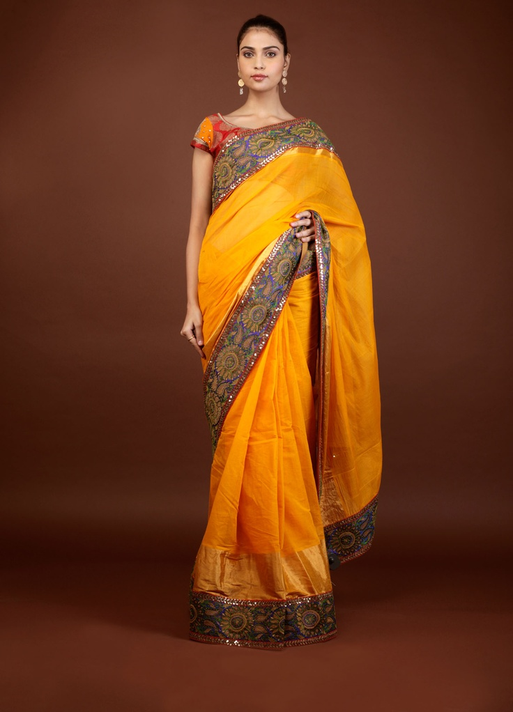 Sabyasachi  Yellow Cotton saree with blue and green border