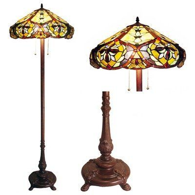 Chloe Lighting CH19817G-FL2 Tiffany-Style Victorian 2-Light Floor Lamp with 19-Inch Shade by Chloe Lighting. $225.22. Pull chain switch. 100-watt Type A Bulb. Tiffany-glass, bronze finish resin base, metal pole. This Tiffany style Victorian design floor lamp contains hand cut pieces of stained glass and will compliment many decors throughout your home. It has shades of gold, beige and amber and has a bronze finished base.. Save 14%!