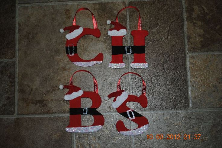 Hand Painted Wooden Santa Ornaments All Letters Available Christmas Holiday. $3.00, via Etsy.