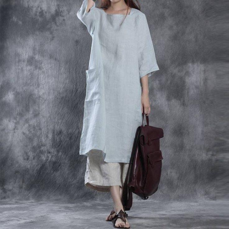 Women loose pullover linen dress