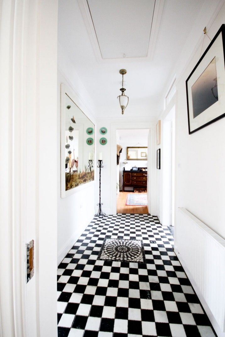 RTE Home Of The Year Light bright white entrance hallway | black and white chequered floor tile