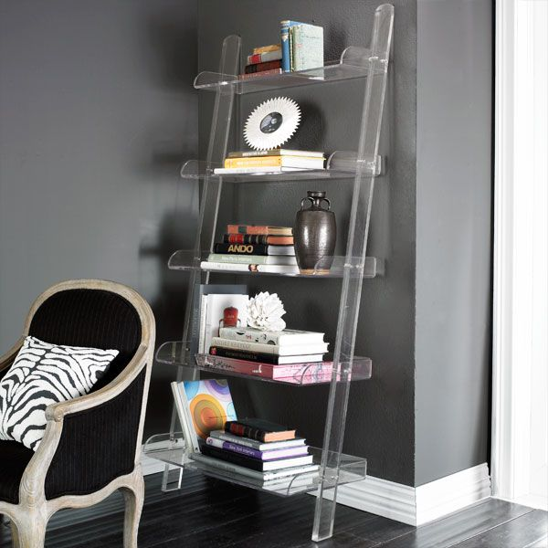 Lucite Ladder Shelves Acrylic Bookshelf Home Decor Furniture Leaning Bookshelf