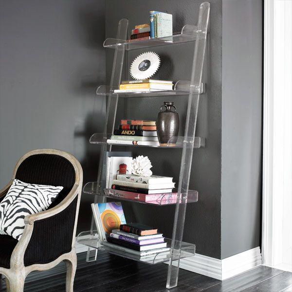 Lucite Ladder Shelves Glass Lucite Acrylic Leaning Bookshelf Acrylic Bookcase Bookshelves