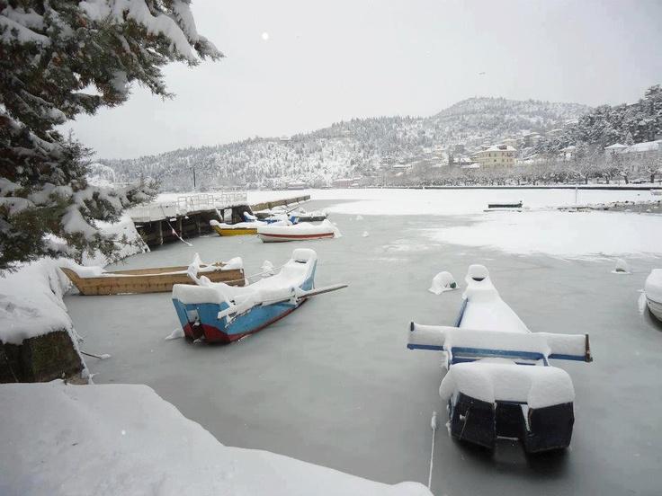 Snowy Kastoria, Greece