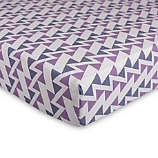 image of Lolli Living™ Mod Zigzag Fitted Crib Sheet in Purple