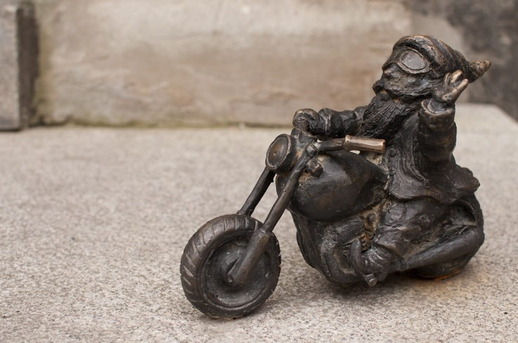 A bit better picture of the motorcycle club mascot dwarf in Wroclaw