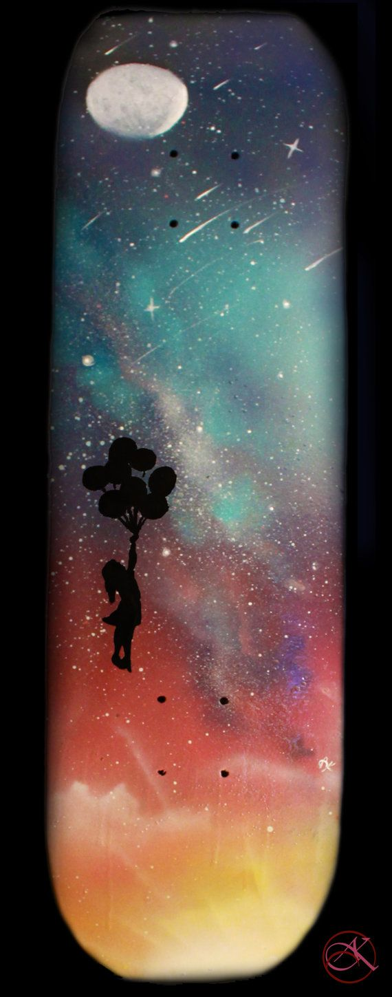 Skateboard Deck Art Space Art Spray Paint Art by KanoelaniArt