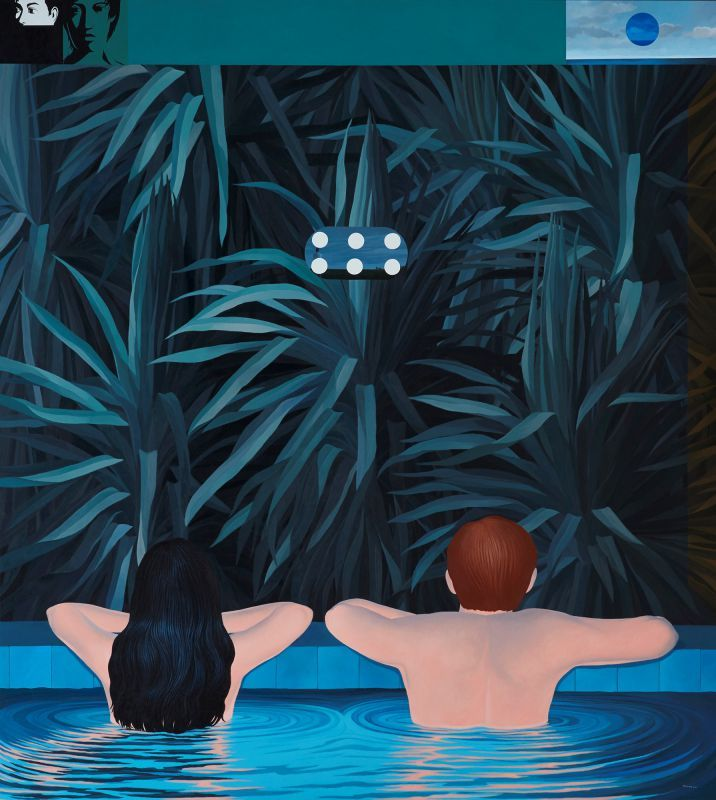 Knakorn Kachacheewa: Pool , 2012, Acrylic on Canvas, 200 x 180cm. Represented by Ode To Art. In Pool (2012), a man and a woman rest at the edge of a pool, backs to the viewer. It resembles the casual domestic vignettes of Alex Katz. The couple stares at a wall of leafy plants, above which, magically or allegorically, float portraits and a small segment of landscape with a cloudy sky.