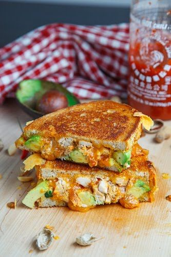 Spicy Peanut Chicken Grilled Cheese Sandwich #recipe (aka the Chicken Satay Melt) from closetcooking.com